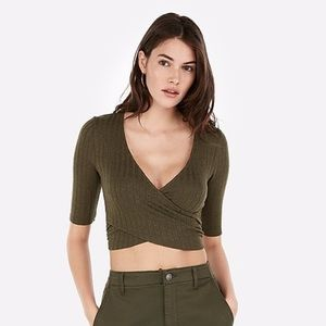 Express - Olive Green Surplice Crop Top - Size M